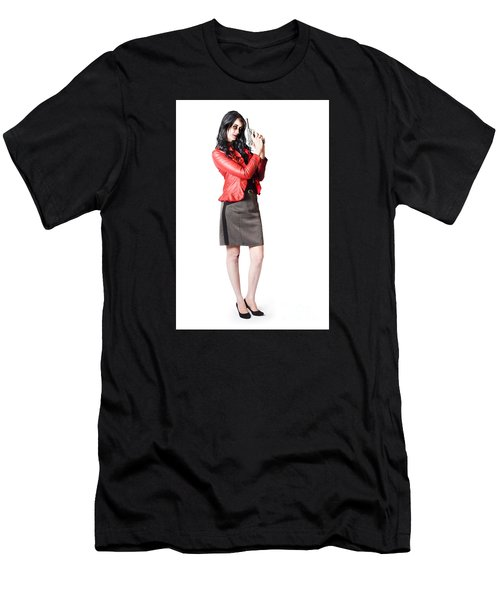 Men's T-Shirt (Athletic Fit) featuring the photograph Dead Female Secret Agent Holding Hand Gun by Jorgo Photography - Wall Art Gallery
