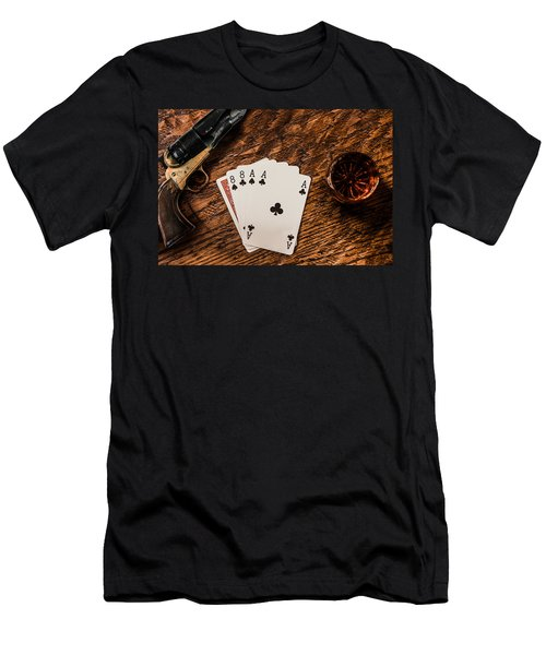 Dead Mans Hand A Gun And A Shot Of Whiskey Men's T-Shirt (Slim Fit) by Semmick Photo