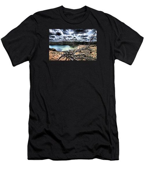 Dead Nature Under Stormy Light In Mediterranean Beach Men's T-Shirt (Slim Fit) by Pedro Cardona