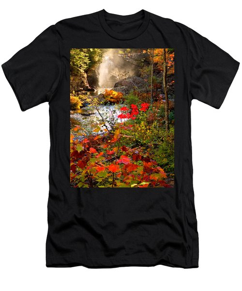 Dead River Falls Foreground Plus Mist 2509 Men's T-Shirt (Slim Fit) by Michael Bessler