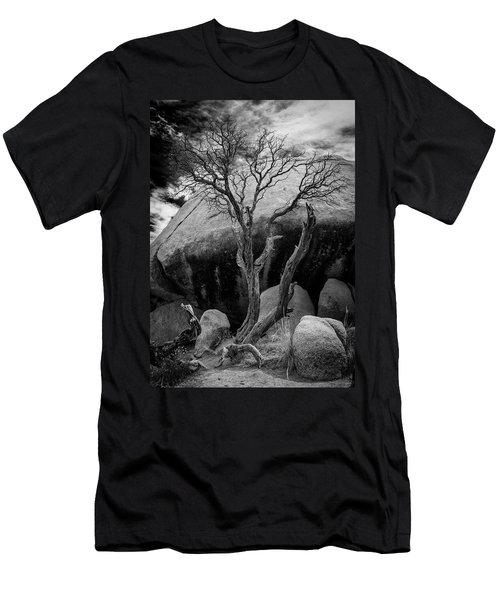 Dead Tree And Boulder At Joshua Tree Men's T-Shirt (Athletic Fit)