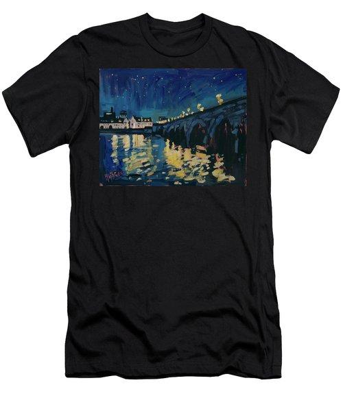 December Lights At The Old Bridge Men's T-Shirt (Slim Fit) by Nop Briex