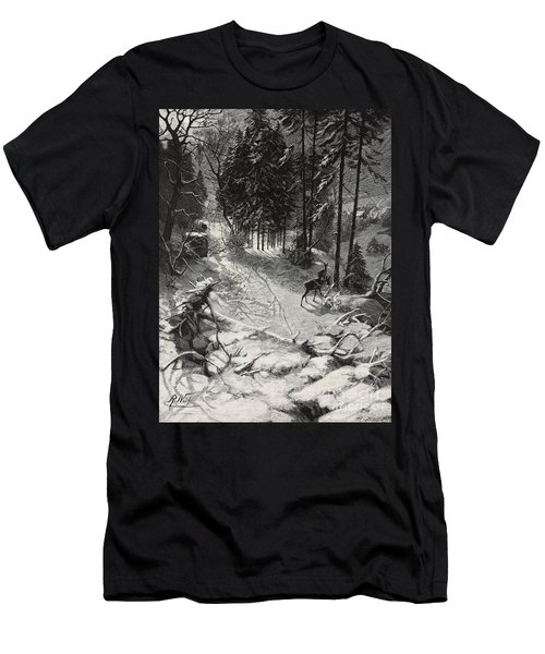 December Night Snow Covered Wood Men's T-Shirt (Athletic Fit)