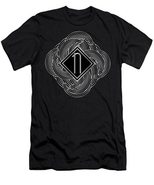 Deco Jazz Swing Monogram ...letter N Men's T-Shirt (Athletic Fit)