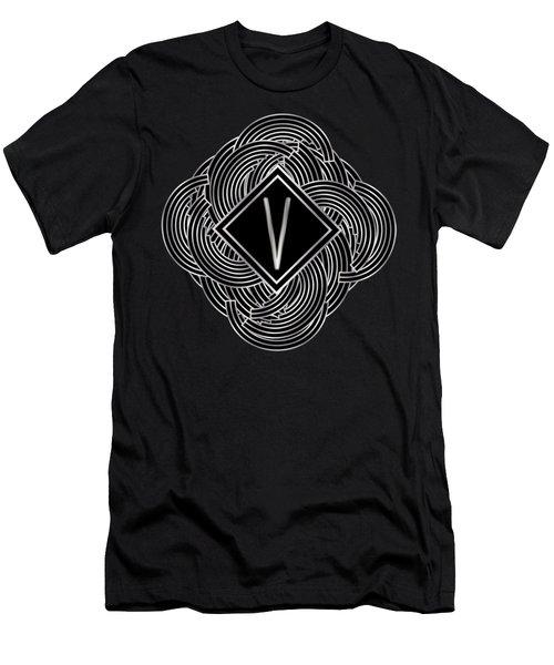 Deco Jazz Swing Monogram ...letter V Men's T-Shirt (Athletic Fit)