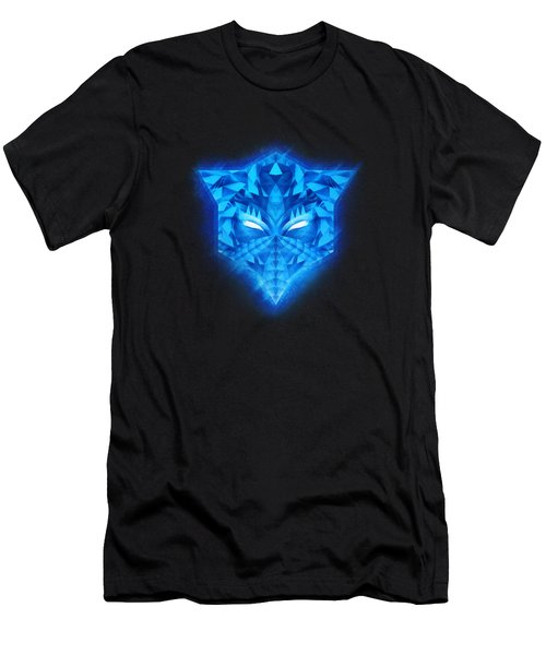 Deep Blue Collosal Low Poly Triangle Pattern  Modern Abstract Cubism  Design Men's T-Shirt (Athletic Fit)