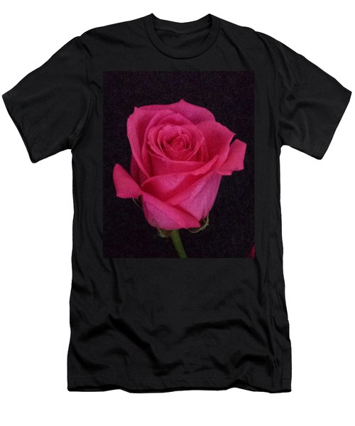 Deep Pink Rose On Black Men's T-Shirt (Athletic Fit)