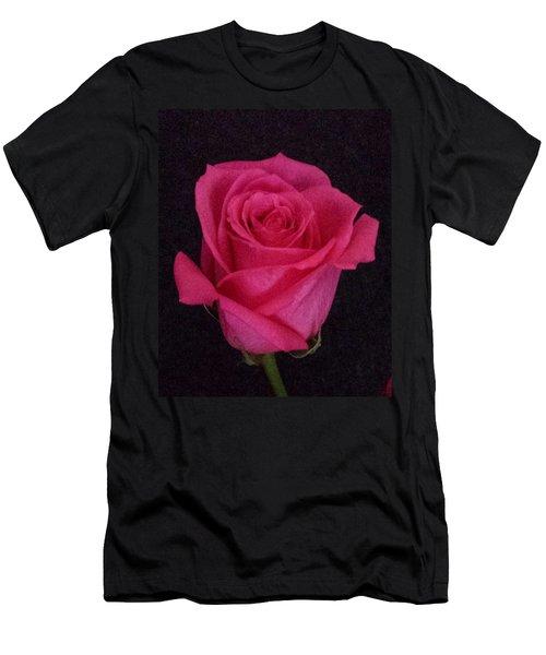 Deep Pink Rose On Black Men's T-Shirt (Athletic Fit)