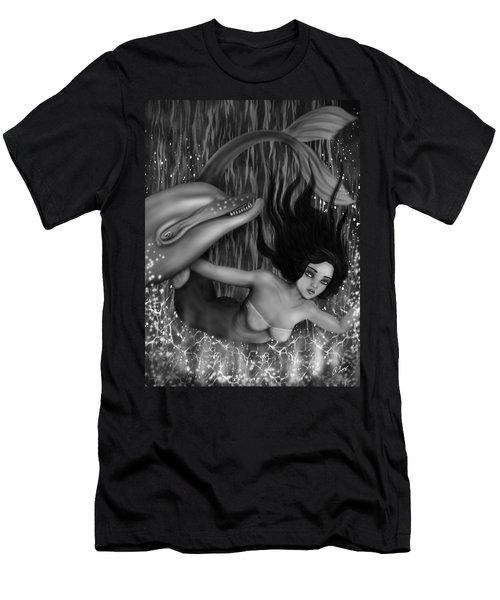 Deep Sea Mermaid - Black And White Fantasy Art Men's T-Shirt (Athletic Fit)