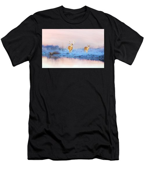 Deer At Winter Pond Men's T-Shirt (Athletic Fit)