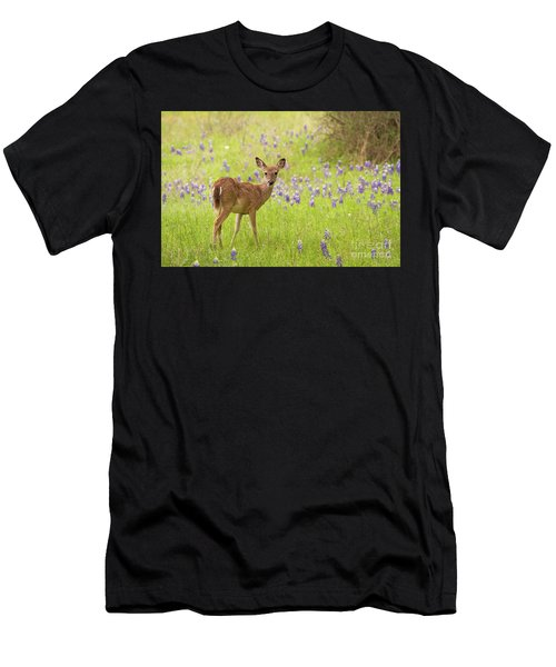 Deer In The Bluebonnets Men's T-Shirt (Athletic Fit)