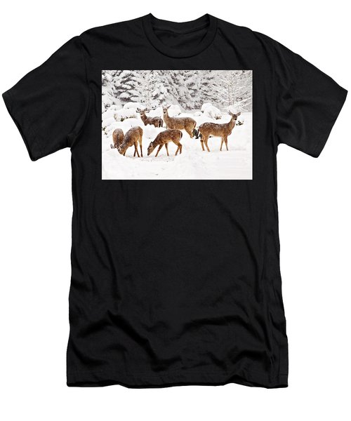 Men's T-Shirt (Athletic Fit) featuring the photograph Deer In The Snow 2 by Angel Cher