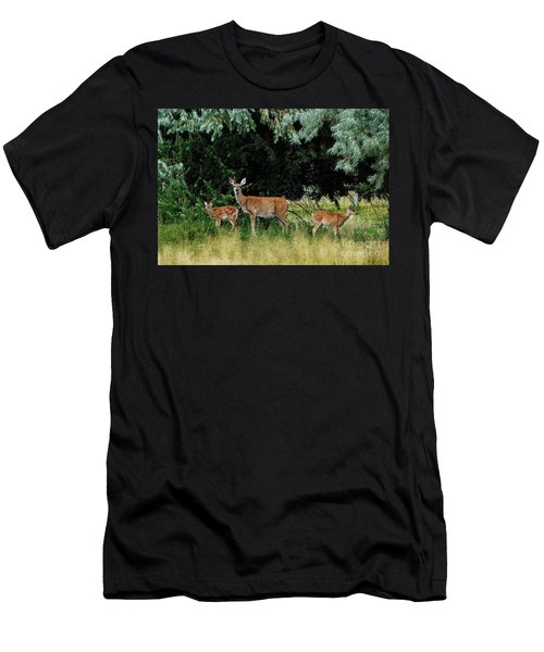 Men's T-Shirt (Slim Fit) featuring the photograph Deer Mom by Larry Campbell