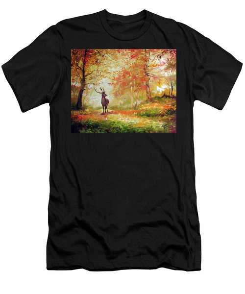 Deer On The Wooden Path Men's T-Shirt (Athletic Fit)