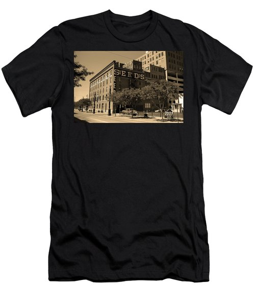 Men's T-Shirt (Slim Fit) featuring the photograph Denver Downtown Warehouse Sepia by Frank Romeo