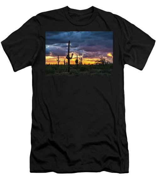 Men's T-Shirt (Athletic Fit) featuring the photograph Desert Beauty At Sunset  by Saija Lehtonen
