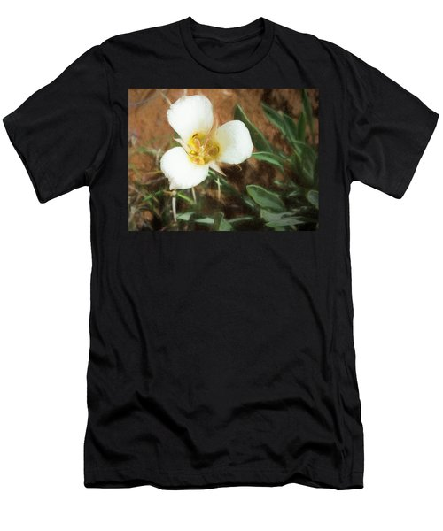Men's T-Shirt (Athletic Fit) featuring the painting Desert Mariposa Lily by Penny Lisowski