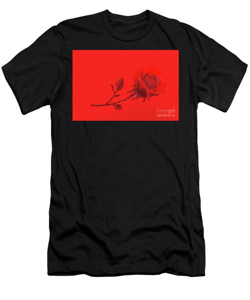 Men's T-Shirt (Slim Fit) featuring the photograph Designer Red Rose by Linda Phelps