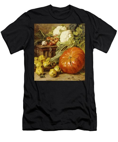 Detail Of A Still Life With A Basket, Pears, Onions, Cauliflowers, Cabbages, Garlic And A Pumpkin Men's T-Shirt (Athletic Fit)