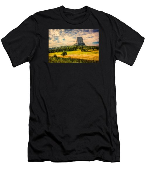 Men's T-Shirt (Athletic Fit) featuring the photograph Devil's Tower - The Other Side by Rikk Flohr