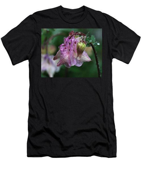 Men's T-Shirt (Slim Fit) featuring the photograph Dewey Morning Columbine by Susan Capuano