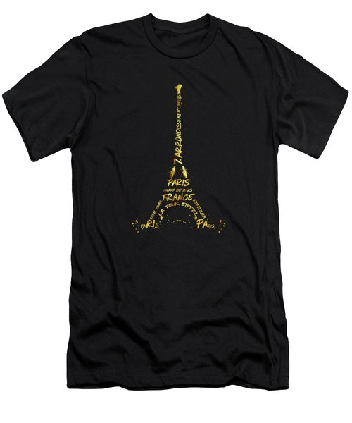 Digital-art Eiffel Tower - Black And Golden Men's T-Shirt (Athletic Fit)
