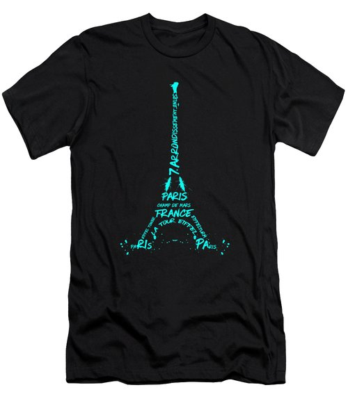 Digital-art Eiffel Tower Cyan Men's T-Shirt (Athletic Fit)