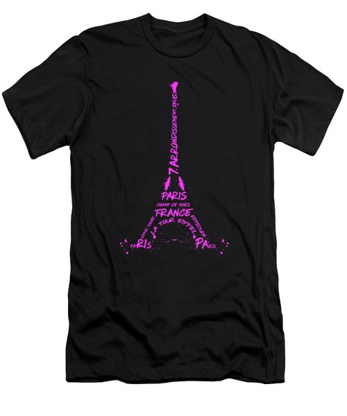Digital-art Eiffel Tower Pink Men's T-Shirt (Slim Fit) by Melanie Viola