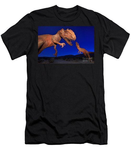 Men's T-Shirt (Athletic Fit) featuring the photograph Dinosaur Battle In Jurassic Park by Sam Antonio Photography