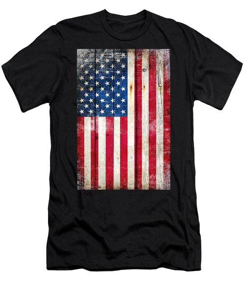 Distressed American Flag On Wood - Vertical Men's T-Shirt (Athletic Fit)