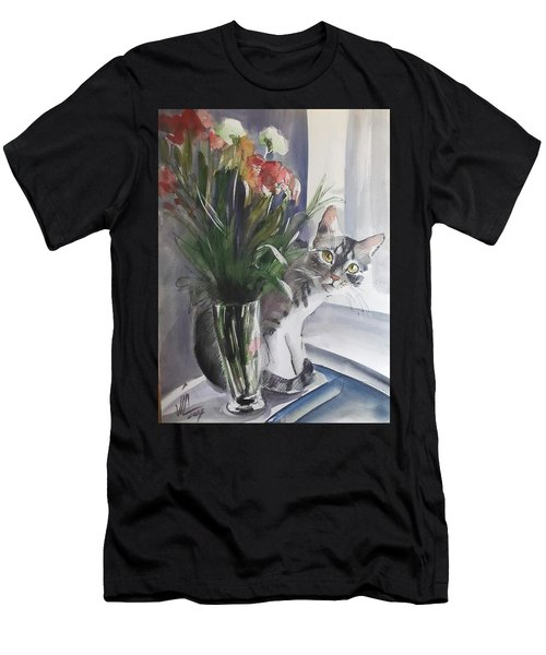 Do You See Me? Pet Portrait In Watercolor .modern Cat Art With Flowers  Men's T-Shirt (Athletic Fit)