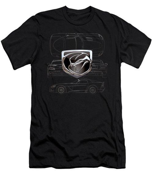 Dodge Viper  3 D  Badge Over Dodge Viper S R T 10 Silver Blueprint On Black Special Edition Men's T-Shirt (Slim Fit) by Serge Averbukh