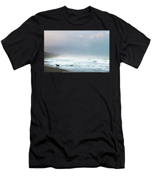 Dog On A Costa Rica Beach Men's T-Shirt (Athletic Fit)