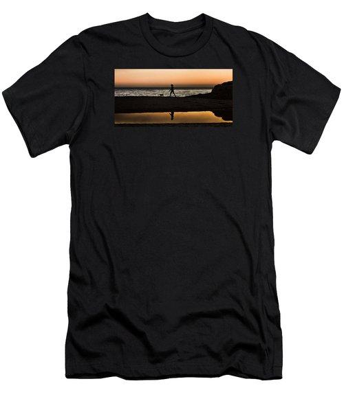Dog Walker At Sunset Men's T-Shirt (Athletic Fit)
