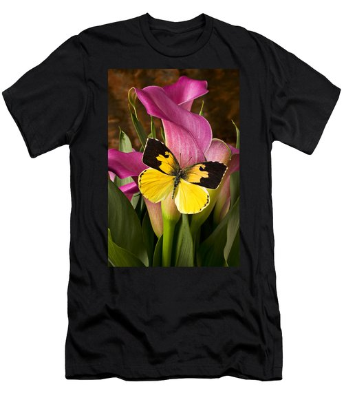 Dogface Butterfly On Pink Calla Lily  Men's T-Shirt (Athletic Fit)