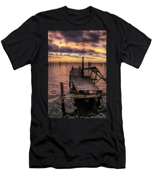 Dolphin Dock Men's T-Shirt (Slim Fit) by John Loreaux