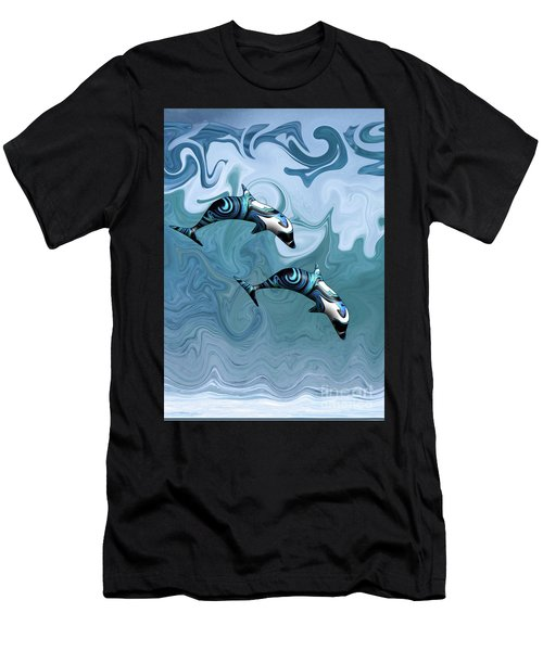 Dolphins Playing In The Waves Men's T-Shirt (Athletic Fit)