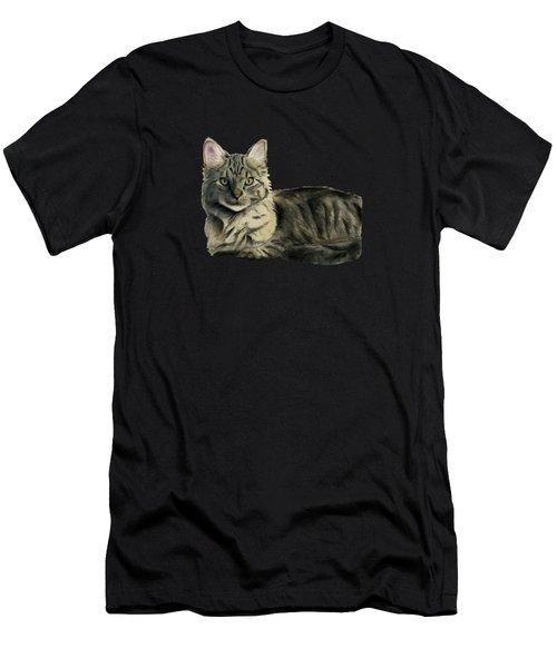 Domestic Medium Hair Cat Watercolor Painting Men's T-Shirt (Athletic Fit)