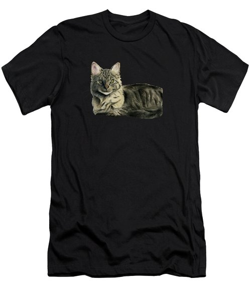 Domestic Medium Hair Cat Watercolor Painting Men's T-Shirt (Athletic Fit)
