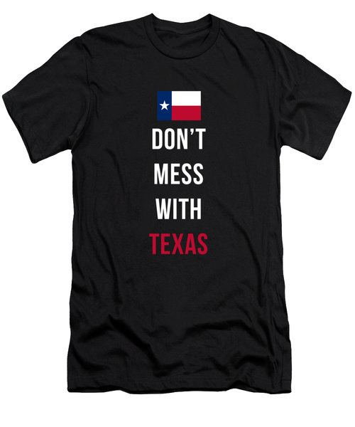 Don't Mess With Texas Tee Black Men's T-Shirt (Slim Fit) by Edward Fielding