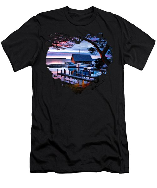 Door County Anderson Dock Sunset Men's T-Shirt (Slim Fit) by Christopher Arndt