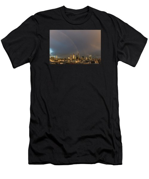 Double Rainbow Over The City Of London Men's T-Shirt (Athletic Fit)