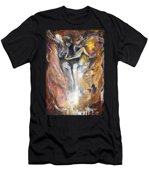 Men's T-Shirt (Slim Fit) featuring the painting Down The Rabbit Hole by Nadine Dennis