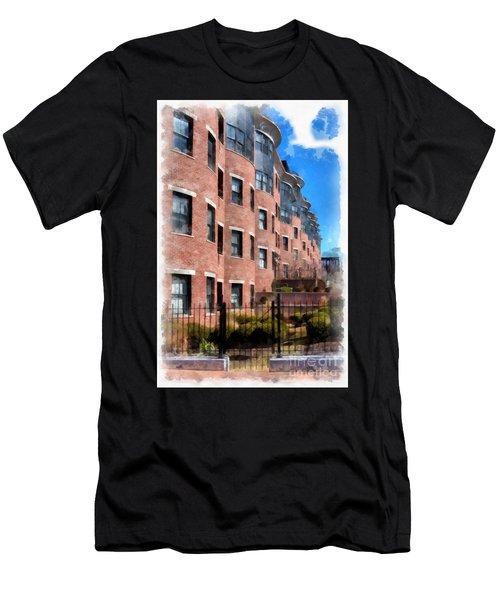 Downtown Burlington Vermont Watercolor Men's T-Shirt (Athletic Fit)