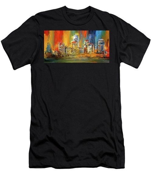 Downtown Louisville - Colorful Abstract Art Men's T-Shirt (Athletic Fit)