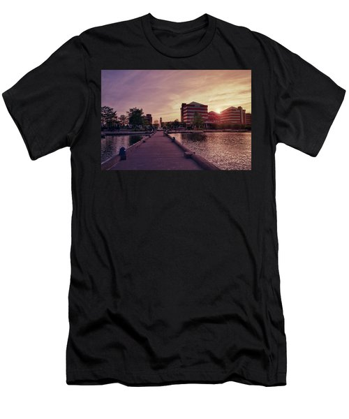 Men's T-Shirt (Athletic Fit) featuring the photograph Downtown Neenah Sunset by Joel Witmeyer