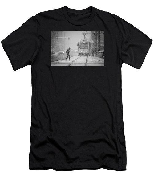 Downtown Snow Storm Men's T-Shirt (Athletic Fit)