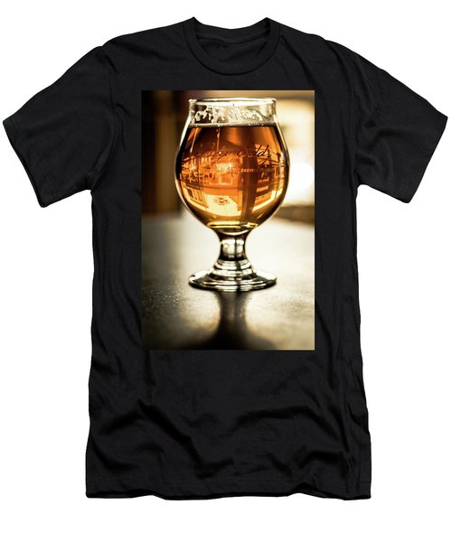 Downtown Waukesha Through A Glass Of Beer At Bernie's Taproom Men's T-Shirt (Athletic Fit)