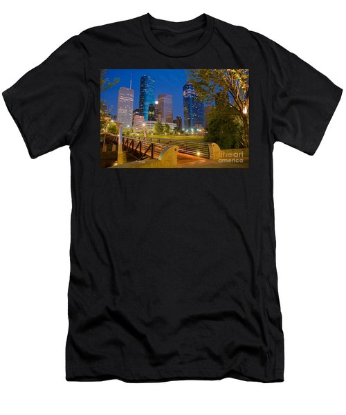 Dowtown Houston By Night Men's T-Shirt (Athletic Fit)