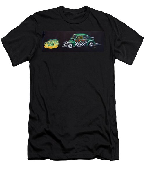 Men's T-Shirt (Athletic Fit) featuring the painting Drag Racing Vw by Richard Le Page